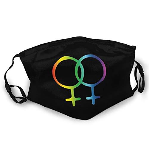 Women Symbols Lesbian LGBT Pride Dust Mask Windproof Adjustable Earloop Face Mouth Cover Black