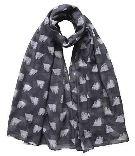 Lina & Lily Malteser Hund - Damen Schal Hundemotiv (Grau)
