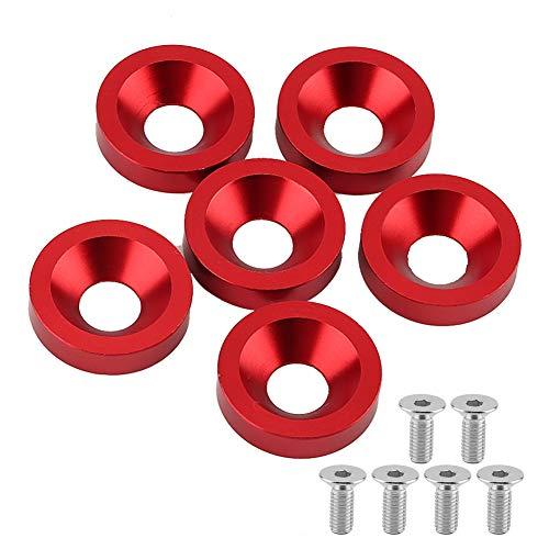 Duokon 6 stücke M8 Nummernschild Rahmen Kotflügel Stoßstange Motorabdeckung Unterlegscheibe/Schraube Kit für Auto/Motorrad (8mm)(Rot)