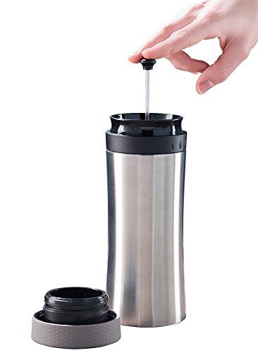Rosenstein & Söhne French Press Becher: 2in1-Edelstahl-Thermobecher mit French-Press-System, 0,48 l, BPA-frei (Thermo Kaffeebereiter)