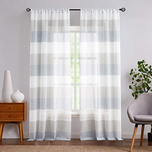 """Central Park Gray and Smoke Blue Stripe Sheer Color Block Window Curtain Panel Linen Window Treatment for Bedroom Living Room Farmhouse 84 inches Long Rod Pocket, 2 Panel Rustic Drapes, 40""""x84""""x2"""