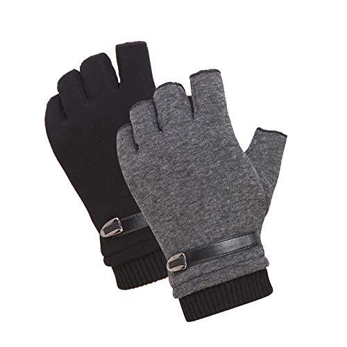 INTVN Guantes de invierno sin dedos 2 Pares Guantes sin dedos hombre Unisex Hombre Mujer(Negro y gris)