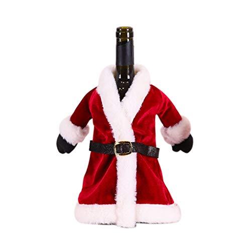 KunmniZ KUKALE - Funda para botella de vino tinto para decoración de Navidad, decoración para el hogar, cena, fiesta, mesa, regalo, terciopelo