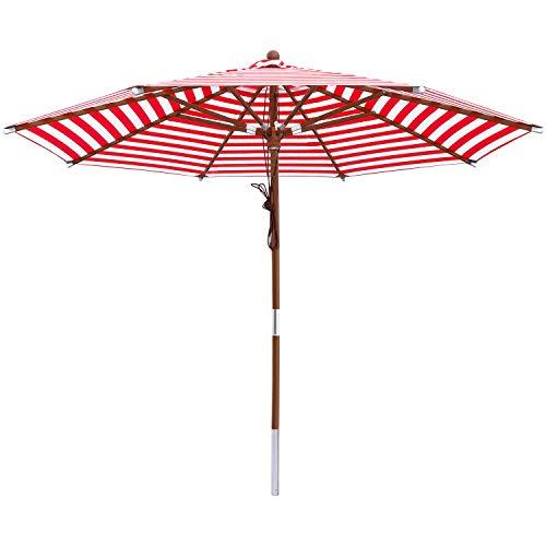 anndora Sonnenschirm 3m rund - rot-weiß gestreift Teak Holz Zugmechanismus Höhe 2,6m Stoff wechselbar Stammschutz