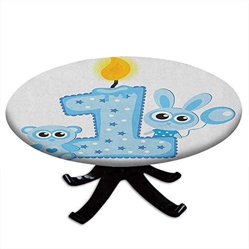 Tovaglia rotonda adatta per il primo compleanno, per feste con torta e candela, coniglio e orso, con bordo elastico, impermeabile e lavabile, per tavoli fino a 157,5 cm di diametro Baby Blue e P