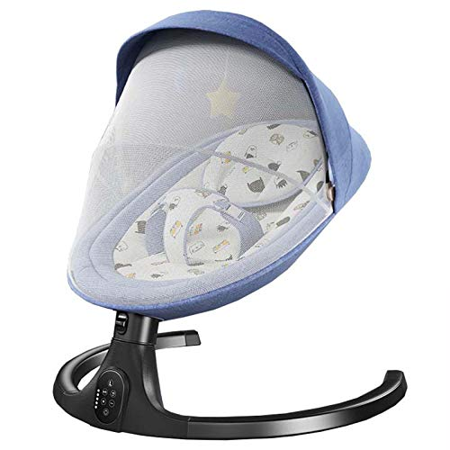 Columpio Bebe eléctrica con Mando a Distancia,Balancín para bebé con 5 velocidades de Giro y 3 Tiempos Inteligentes, balancin Bebe electrico Apto para 0-24 Meses,Blue