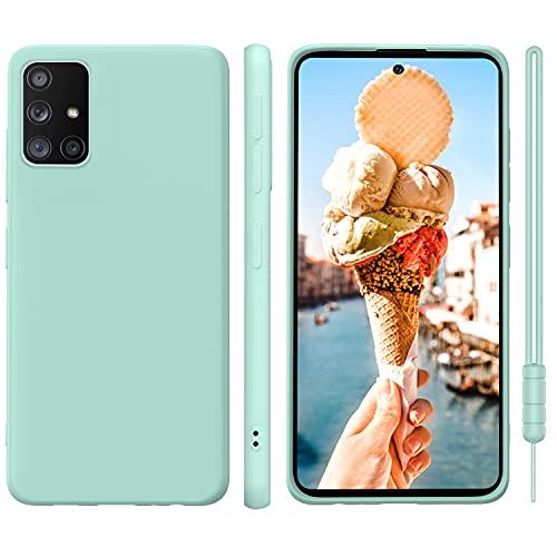 ORDA Samsung Galaxy A71 Hülle Silikon Hülle, Hanyhülle Samsung A71 Hülle Ultra Dünn mit Microfiber, Kameraschutz & Displayschutz, Kratzfeste Hülle für Samsung Galaxy A71 4G Mint Grün