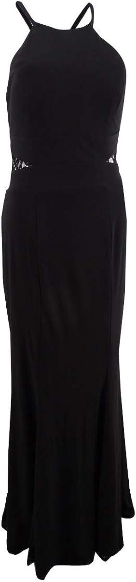 Xscape Women's Lace-Back Halter Gown (6, Black)