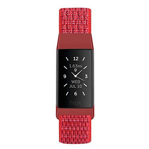 KIBDSNG Compatible con correas Charge 4/Charge 3/Charge 3 SE, pulseras de nailon suave y ligero para hombres y mujeres (rojo)