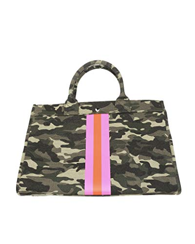 """Milly Kate Camouflage Tote Handbag with Pink and Orange Stripes, Stylish, Trendy, Preppy, Fashionable, Upscale Bag, Detachable Strap, Inside Pockets, Designer Purse Exclusive to Milly Kate, 10"""" x 15"""""""