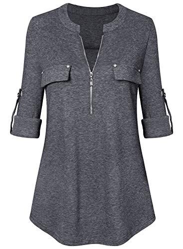 Amrto Damen V-Ausschnitt Bluse 3/4 Ärmel Tunika Reißverschluss Langshirt Langarm Hemd Tops T-Shirt Oberteile, Dunkelgrau Medium