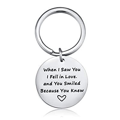 Jureeone Valentine's Day Gift Pendant Novelty Keychain Keyrings for Lovers Couples Boyfriend Girlfriend - When I Saw You I Fell in Love and You Smiled Because You Knew Stainless Steel