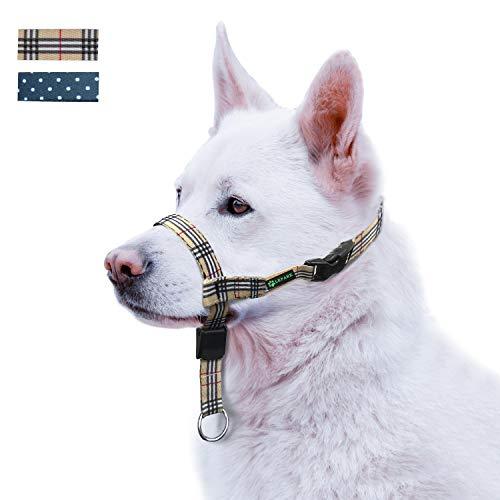 ILEPARK Cuello de Cabeza de Perro, Arnés para Cabeza para Perros Anti Pull, Ajustable, Herramienta de Entrenamiento (L, Plaid)