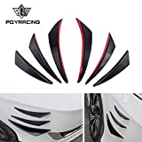 PQYRACING 6PCS Car Front Bumper Lip Splitter Fins Body Spoiler Kit Auto Bumper Stickers Decoration Accessories Compatible with Audi BMW