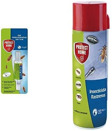 PROTECT HOME Gel Anticucarachas, Cebo De Accion Inmediata, Eficacia Total, Azul, 1 X 10 Gramos + Insecticida Blattanex, Uso Doméstico De Acción Inmediata Contra Cucarachas, Verde Agua