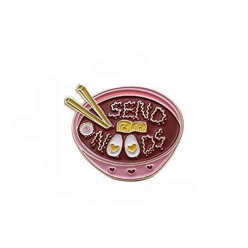 wangk Eier Ramen Pin rosa Schale Nudeln Abzeichen benutzerdefinierte Broschen Tasche Kleidung Anstecknadel Cartoon Essen Schmuck Geschenk für Kinder Freunde