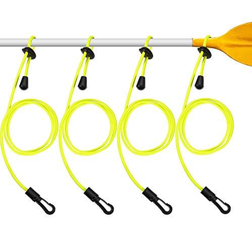 Sumind 4 Guinzagli per Pagaia da Kayak Guinzaglio Regolabile per Canne da Kayak Guinzaglio da Pesca in Nylon Resistente con Fermaglio (Giallo)