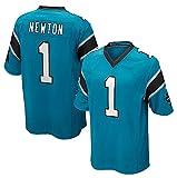 TUOZA Camiseta de fútbol Americano Newton 1# Panthers, Camiseta de Rugby para Hombre, Camiseta cómoda y Transpirable de Manga Corta, Camiseta con Cuello en v-Blue-XL(185~190CM)
