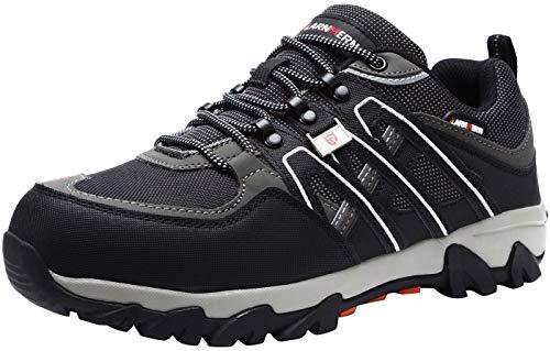 LARNMERN Zapatos de Seguridad para Hombre, Puntas de Acero Antideslizantes SRC Anti-Piercing Zapatos de Trabajo, Negro, 42 EU