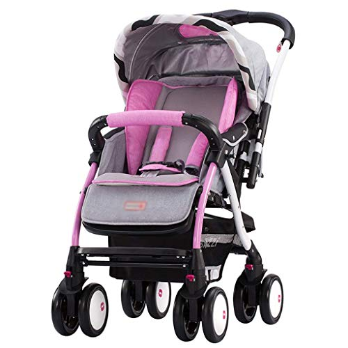 Las muñecas cochecitos livianos PROM PROM tienen un amortiguador universal de cuatro ruedas ancho que se puede acostar y sentarse para la camioneta de bebé del carruaje de la vista alta (color: rosa)