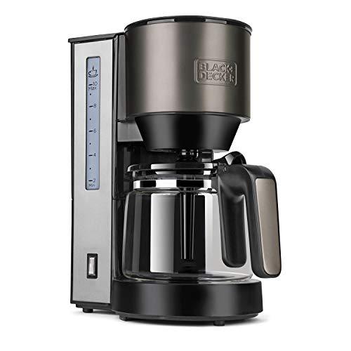 BLACK+DECKER BXCO870E - Cafetière Filtre 870 W, 12 Tasses, Verseuse en Verre, Réservoir 1,25 L, Filtre Permanent, Système Anti-Goutte, Arrêt Automatique, Inox et Noir