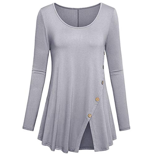 FIDOZ Women's Long Sleeve Round Neck Pleated Elegant Basic Tunic Tops Blouse T-shirt Party Tees Shirts Womens Casual Oversized Cotton Linen Loose Solid Color Sweatshirt Pullover Jumper with Buttons