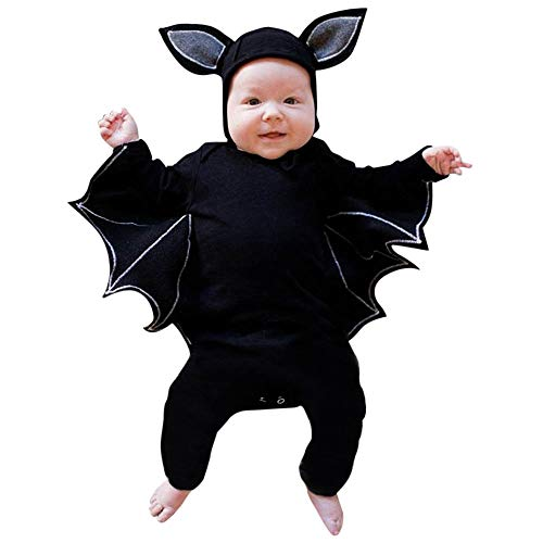 Bokeley-Baby Clothes Set, Toddler Baby Boys Girls Halloween Cosplay Costume Bat Bodysuit Hat Outfit Set (18-24 Months, Black)