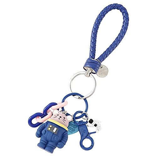 宇宙飛行士 キーホルダー アニマル おしゃれ かわいい バッグチャーム キーリング メンズ レディース キッズ プレゼント (青ねずみ)