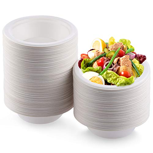 Fuyit 150 Count 12Oz Disposable Bowl, Compostable Biodegradable Sugarcane Bassage Fiber Eco-Friendly White Party Paper Bowls, Heavy-Duty and Microwave Safe for Chili & Soup