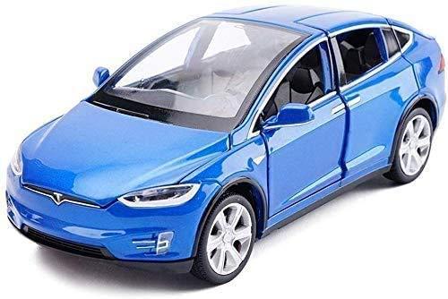 YLJJ Coches a Escala Carretera Modelo de Coche Tesla X Off SUV 1:32 Boy Regalo de los niños Pull Back Juguetes de simulación 15x5.5x4.5CM Gran Regalo para Pascua