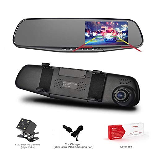 Dash Cam, OUMAX Dual Lens Car Camera, Car Video Recorder for Vehicles Front and Rear DVR, 4.3 Inch Screen, HD1080P - Black