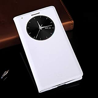 جرابات فليب - جراب جلدي فاخر لهواتف G3 Optimus D855 D850 D 855 D855 D856 LGG3 G 3 D857 D859 F400 F400k Auto Sleep (White F...