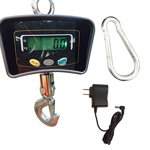 SHIOUCY Shimano - Báscula electrónica para grúa, 500 kg, Pantalla LCD, balanza Colgante 1100LB, Gancho Digital, Escala de grúa con kg y Modos LB