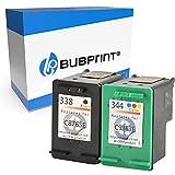 Bubprint 2 Cartouches d'encre Compatible pour HP 338 HP 344 pour Deskjet 5740 6500 9800 Officejet 100 150 Mobile K7100 H470 Photosmart 8050 8450 BK/Couleur