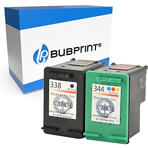 Bubprint 2 Cartucce d'inchiostro compatibili per HP 338 HP 344 per Deskjet 5740 6500 9800 Officejet 100 150 Mobile K7100 H470 Photosmart 8050 8450 BK/Color