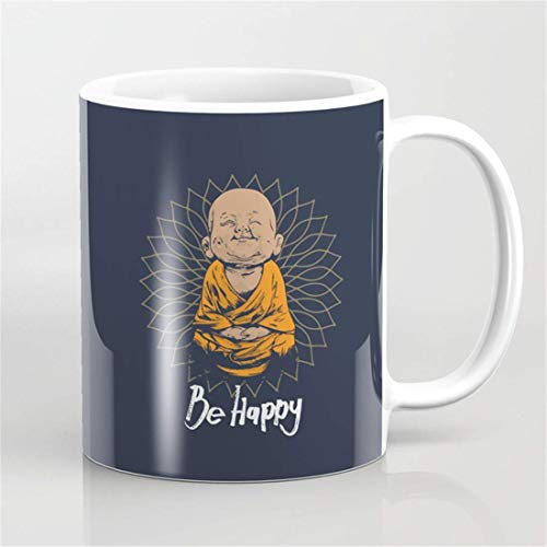 Be Happy Little Buddha Kaffeetasse, Buddha-Tasse, Kaffee- und Teetasse, Yoga-Liebhaber-Tasse