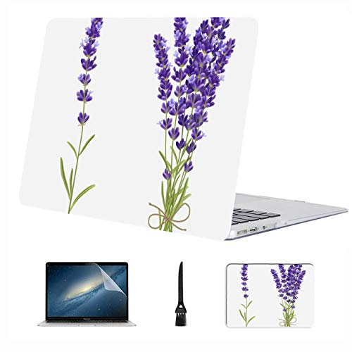 Macbook 11 Inch Case Charming Romantic Purple Lavender Plastic Hard Shell Compatible Mac Air 13' Pro 13'/16' Macbook Pro 15 Cover Protective Cover For Macbook 2016-2020 Version