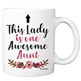 This Lady Is One Awesome Aunt Coffee Mug - 11oz Cup For Auntie - Birthday, Christmas, Mother's Day Mug from Niece, Nephew, Family