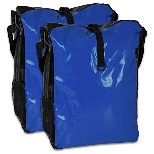 TW24 Fahrradtasche für den Gepäckträger aus LKW-Plane 2 Stück mit Farbauswahl (blau/schwarz)