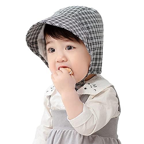 ZHANGYAN Sombrero de bebé, Sombrero de Pescador de ala Ancha, UPF 50+ Sol, Sombrero de Viaje al Aire Libre, 3-18 Meses (Color : Black 1, Size : 44-48cm/17.3-18.8in)
