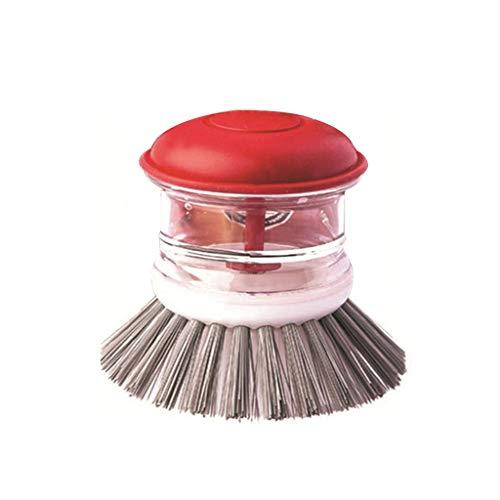 Reinigingsborstel Dish Soap Dispenser voor keukengerief en putten Scrub met antimicrobiële nylon borstels Antislip Tool,Red