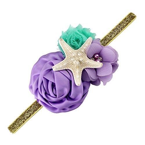 YanJie Aqua Lavender Glitter Starfish Mermaid Headband for Baby Birthday Gift (M, Gold)