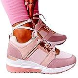 MIAOFA Zapatos de Verano para Mujer Zapatillas de Deporte de cuña con Cordones de Punta Redonda Adecuado para Tenis, Gimnasio, Correr, Ejercicio de Ocio, Mocasines,Rosado,40