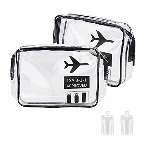 2 Pack Airport Security Liquids Bags Clear Toiletry Bag with 10 Pieces...