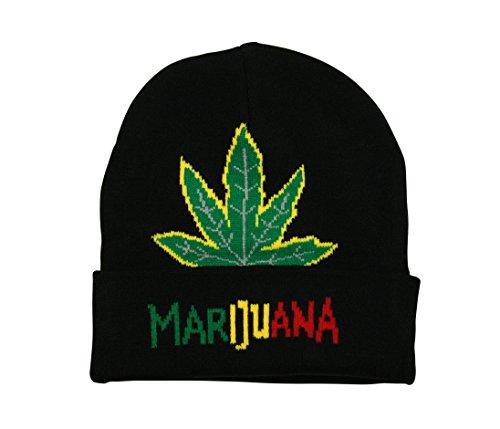 Bonnet à revers rasta avec feuille de marijuana Noir/Vert/Jaune/Rouge