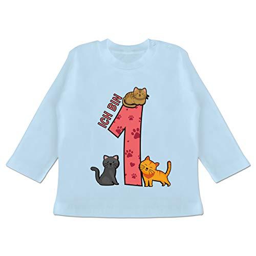 Geburtstag Baby - 1. Geburtstag Katzen - 3/6 Monate - Babyblau - 1 Geburtstag Kleid - BZ11 - Baby T-Shirt Langarm