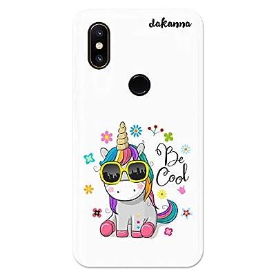 dakanna Funda para Xiaomi MI Mix 2S | Unicornio con Gafas Frase: Be Cool | Carcasa de Gel Silicona Flexible | Fondo Transparente