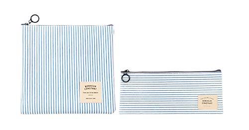 NOVAGO [2 Pack] Astuccio per matite, sacchetto di trucco, collection Bonheur (Strisce blu)