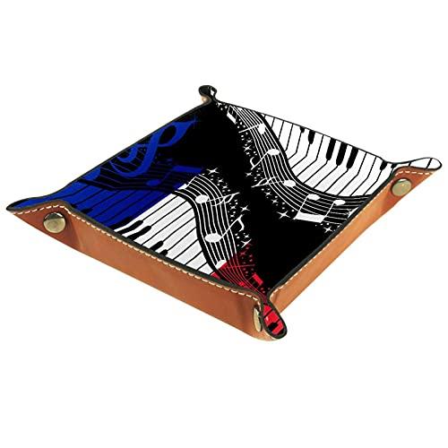 Bandeja de PU Cuero, Almacenamiento Organizador para Joyas, Caja Relojes, Cartera, Moneda,Llaves, Monedas, Teléfonos Bandera de Francia Notas de la música