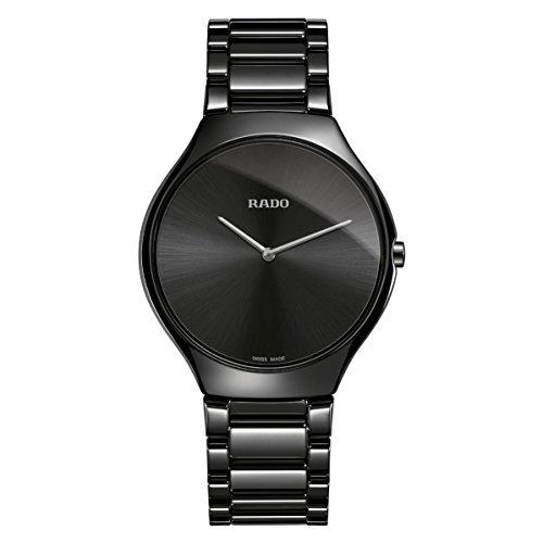 Rado Men's True Thinline 39mm Black Ceramic Band & Case Quartz Watch...